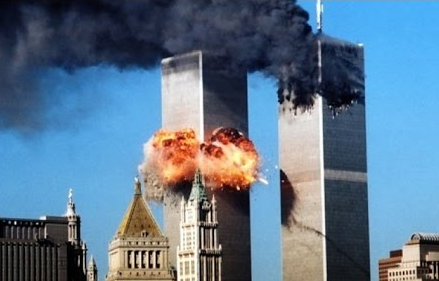 9/11 image of the twin towers in New York city